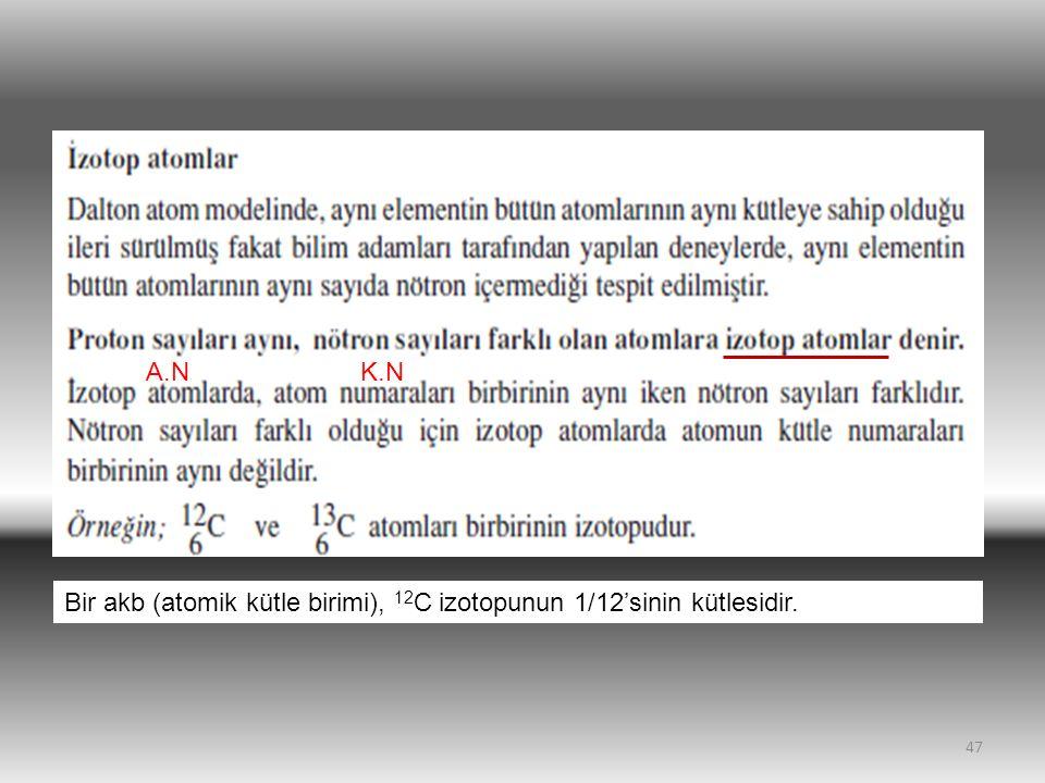 A.N K.N Bir akb (atomik kütle birimi), 12C izotopunun 1/12'sinin kütlesidir.
