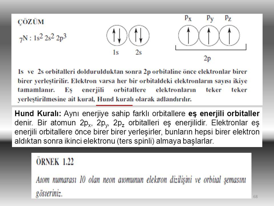 Hund Kuralı: Aynı enerjiye sahip farklı orbitallere eş enerjili orbitaller denir.