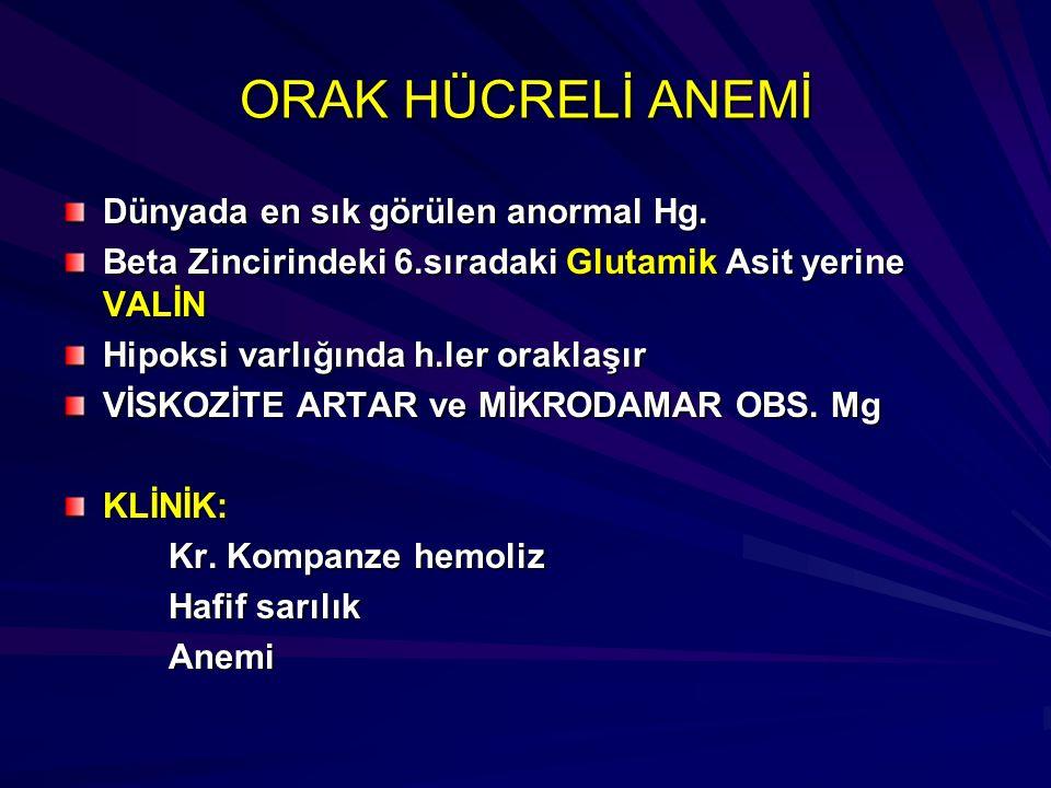 ORAK HÜCRELİ ANEMİ Dünyada en sık görülen anormal Hg.