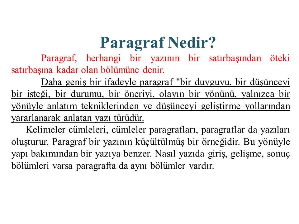 Paragraf Nedir Paragraf, herhangi bir yazının bir satırbaşından öteki satırbaşına kadar olan bölümüne denir.