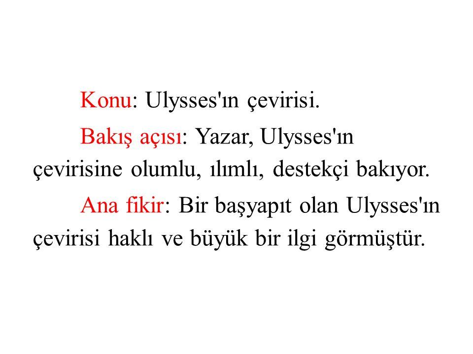 Konu: Ulysses ın çevirisi.