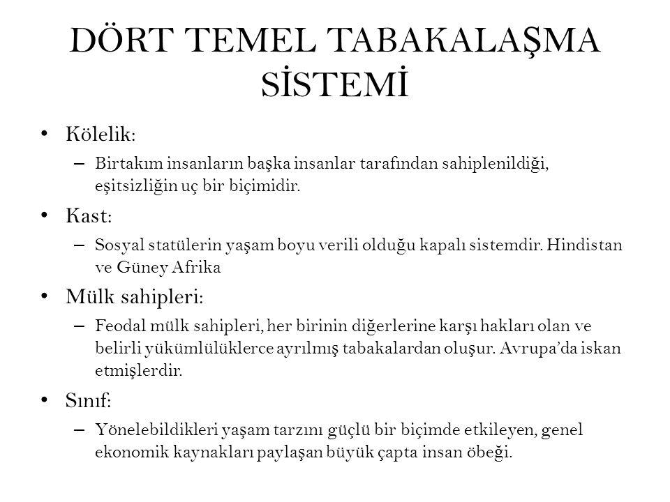 DÖRT TEMEL TABAKALAŞMA SİSTEMİ