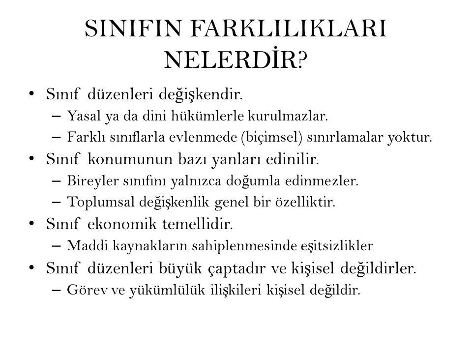 SINIFIN FARKLILIKLARI NELERDİR