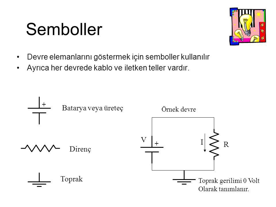 Semboller Devre elemanlarını göstermek için semboller kullanılır