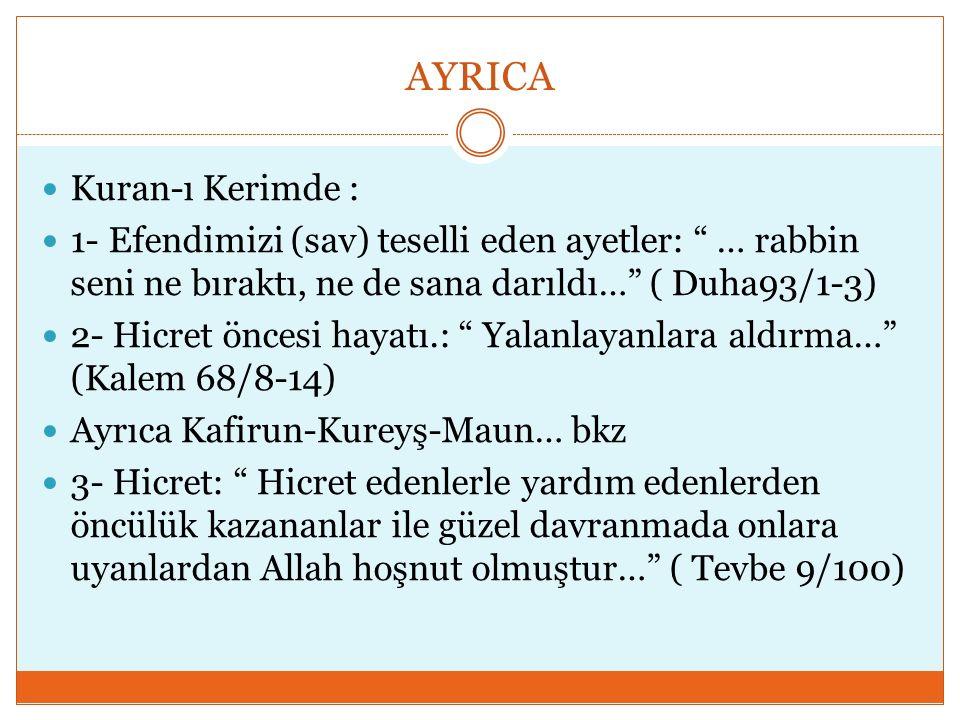 AYRICA Kuran-ı Kerimde :