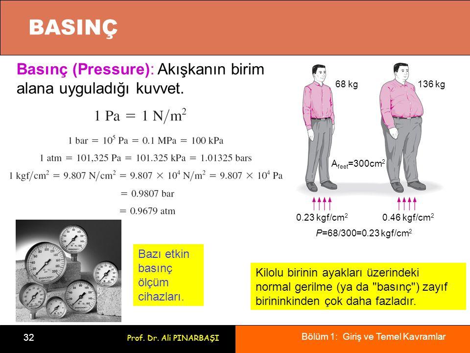 BASINÇ Basınç (Pressure): Akışkanın birim alana uyguladığı kuvvet.