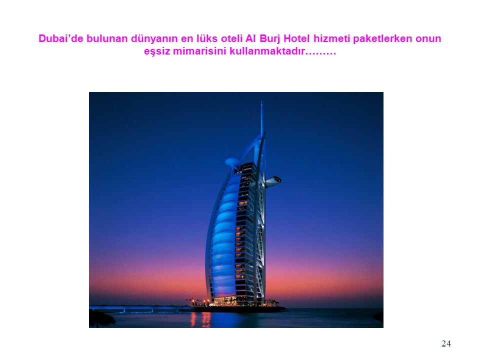 Dubai'de bulunan dünyanın en lüks oteli Al Burj Hotel hizmeti paketlerken onun eşsiz mimarisini kullanmaktadır………