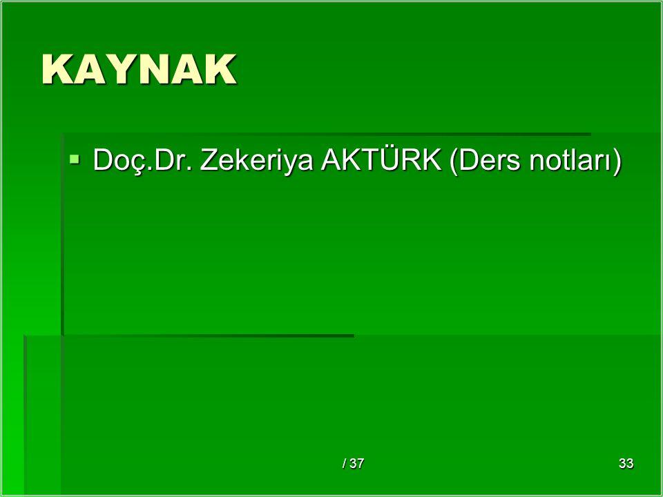 KAYNAK Doç.Dr. Zekeriya AKTÜRK (Ders notları) / 37