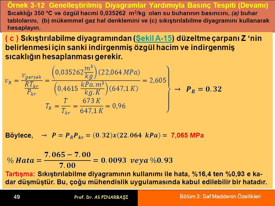 Örnek 3-12 Genelleştirilmiş Diyagramlar Yardımıyla Basınç Tespiti (Devamı)