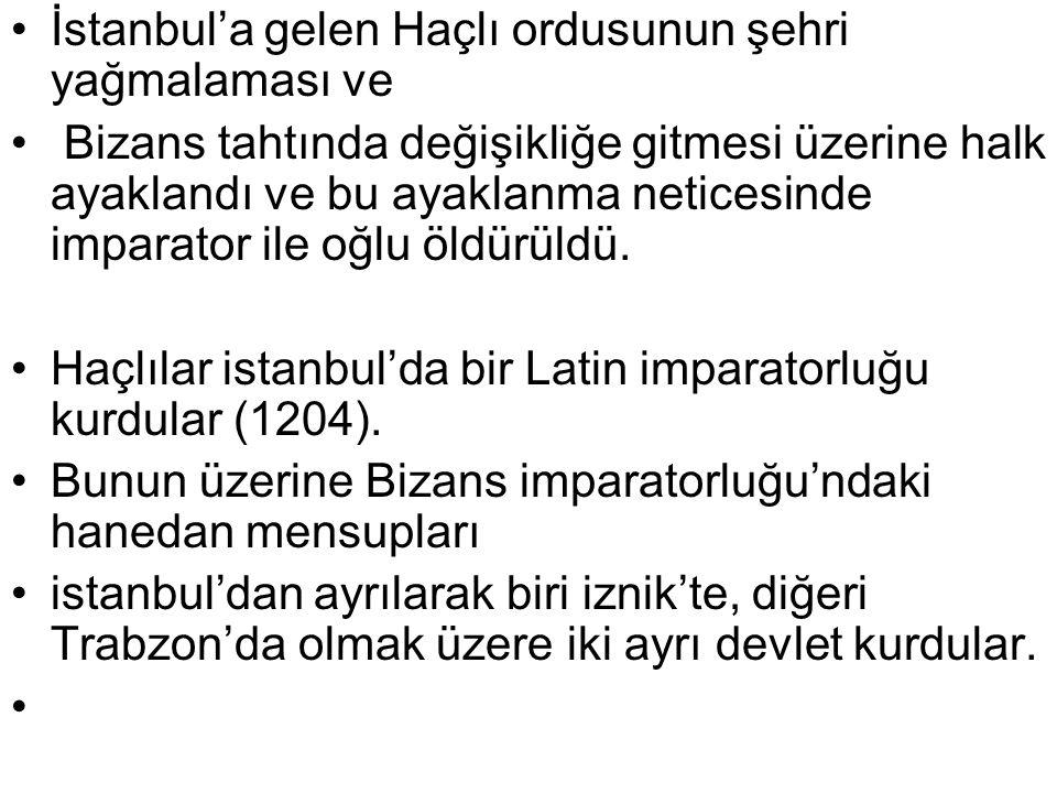 İstanbul'a gelen Haçlı ordusunun şehri yağmalaması ve