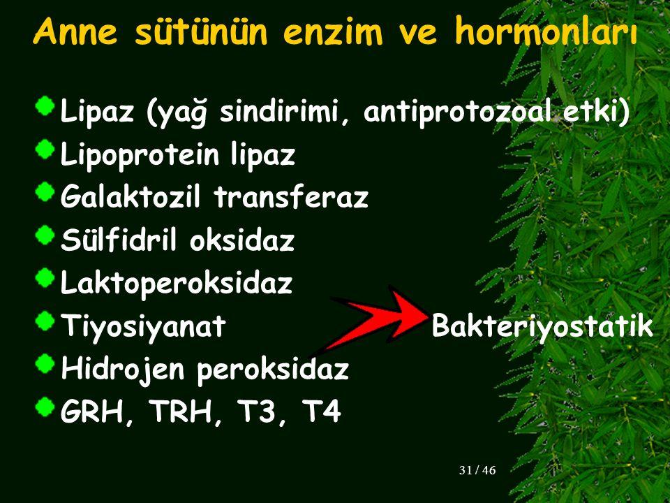Anne sütünün enzim ve hormonları