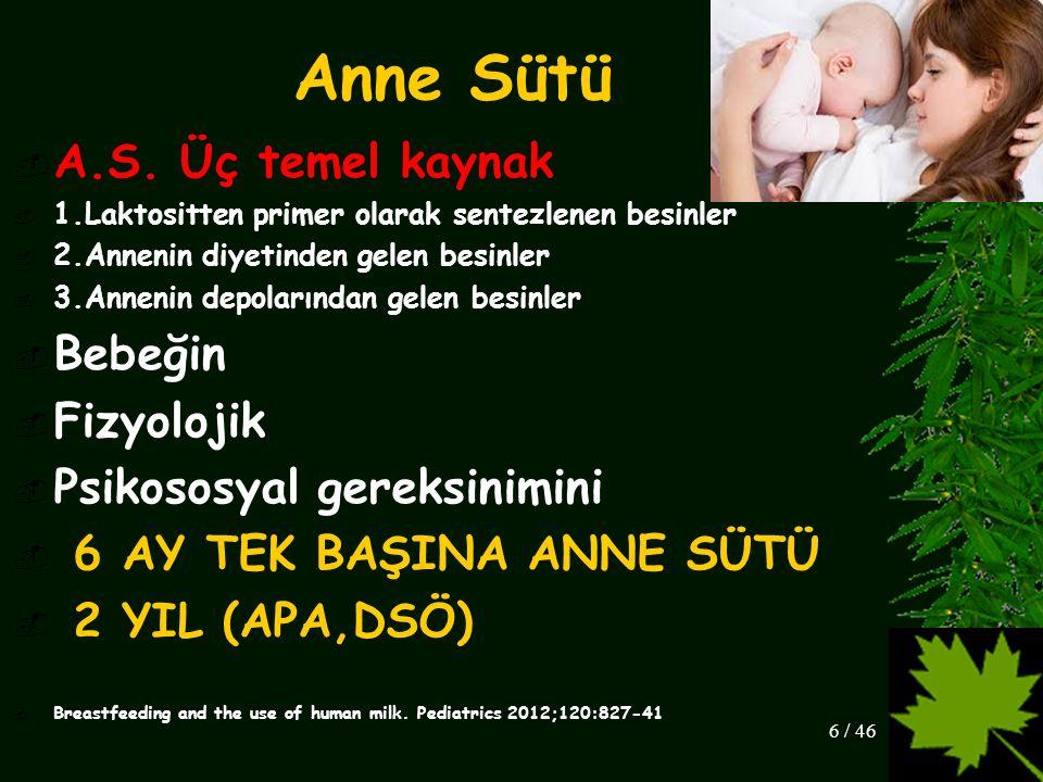 Anne Sütü A.S. Üç temel kaynak Bebeğin Fizyolojik