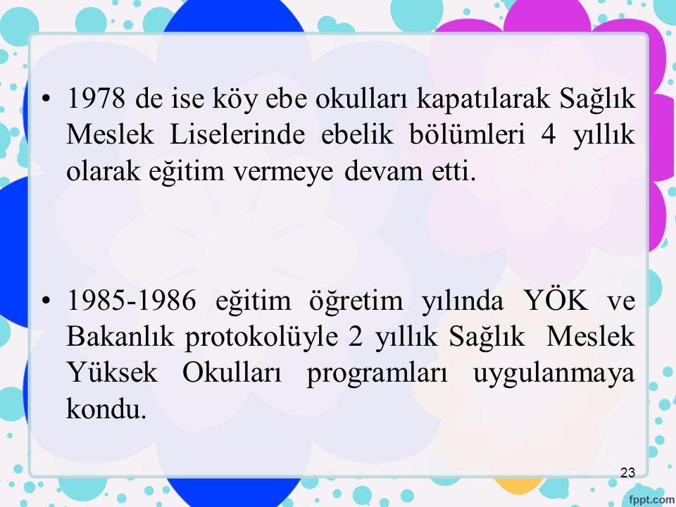 1978 de ise köy ebe okulları kapatılarak Sağlık Meslek Liselerinde ebelik bölümleri 4 yıllık olarak eğitim vermeye devam etti.