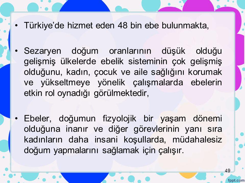 Türkiye'de hizmet eden 48 bin ebe bulunmakta,
