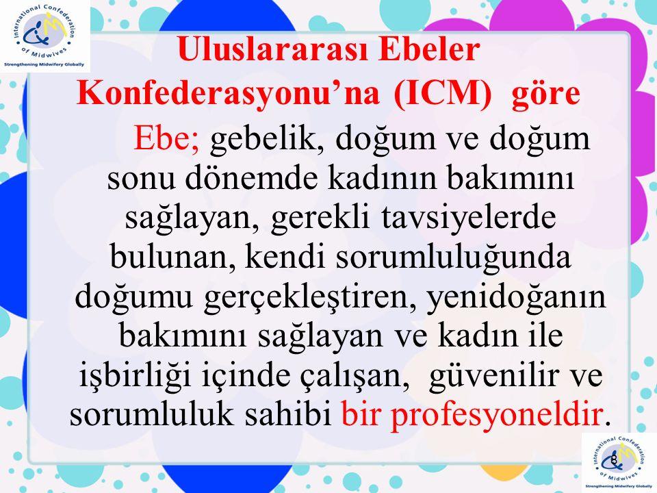 Uluslararası Ebeler Konfederasyonu'na (ICM) göre