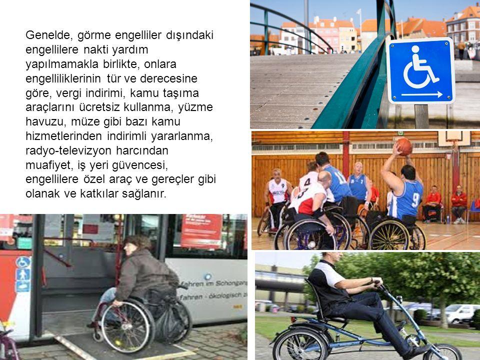 Genelde, görme engelliler dışındaki engellilere nakti yardım yapılmamakla birlikte, onlara engelliliklerinin tür ve derecesine göre, vergi indirimi, kamu taşıma araçlarını ücretsiz kullanma, yüzme havuzu, müze gibi bazı kamu hizmetlerinden indirimli yararlanma, radyo-televizyon harcından muafiyet, iş yeri güvencesi, engellilere özel araç ve gereçler gibi olanak ve katkılar sağlanır.