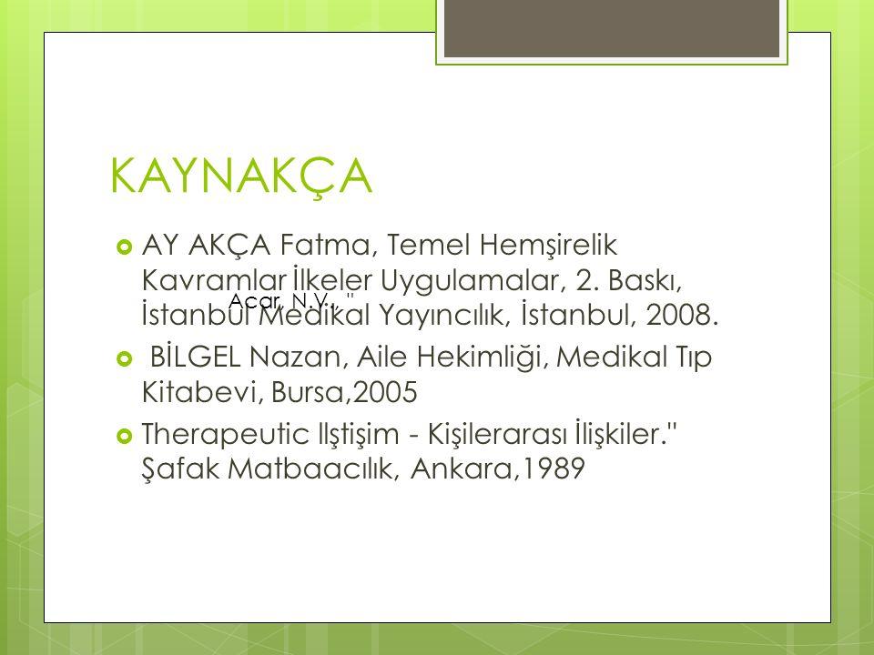 KAYNAKÇA AY AKÇA Fatma, Temel Hemşirelik Kavramlar İlkeler Uygulamalar, 2. Baskı, İstanbul Medikal Yayıncılık, İstanbul, 2008.