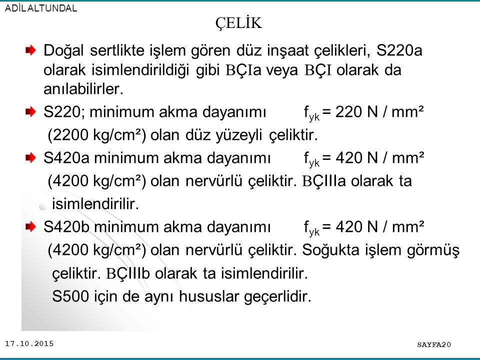 S220; minimum akma dayanımı fyk = 220 N / mm²