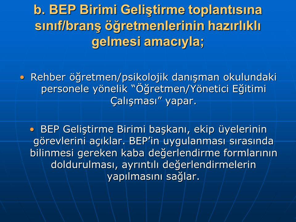 b. BEP Birimi Geliştirme toplantısına sınıf/branş öğretmenlerinin hazırlıklı gelmesi amacıyla;