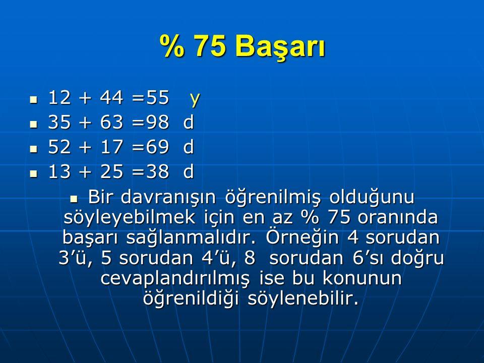 % 75 Başarı 12 + 44 =55 y. 35 + 63 =98 d. 52 + 17 =69 d. 13 + 25 =38 d.