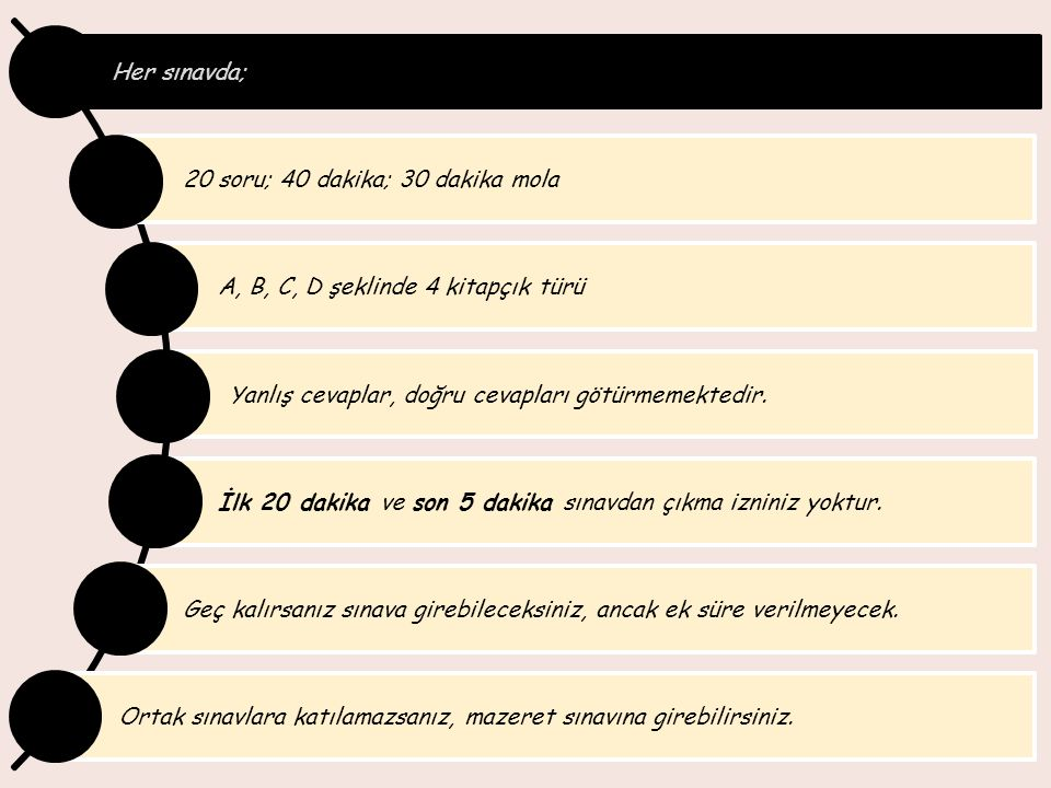 Her sınavda; 20 soru; 40 dakika; 30 dakika mola. A, B, C, D şeklinde 4 kitapçık türü. Yanlış cevaplar, doğru cevapları götürmemektedir.