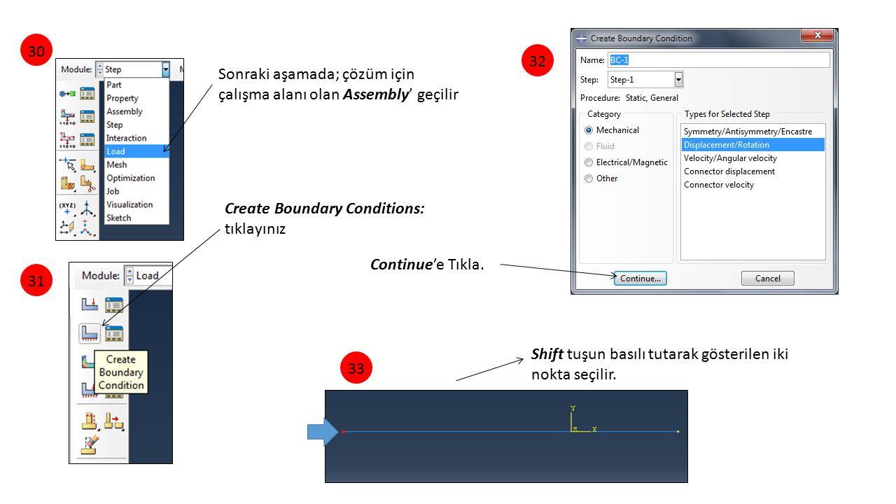 30 32. Sonraki aşamada; çözüm için çalışma alanı olan Assembly' geçilir. Create Boundary Conditions: