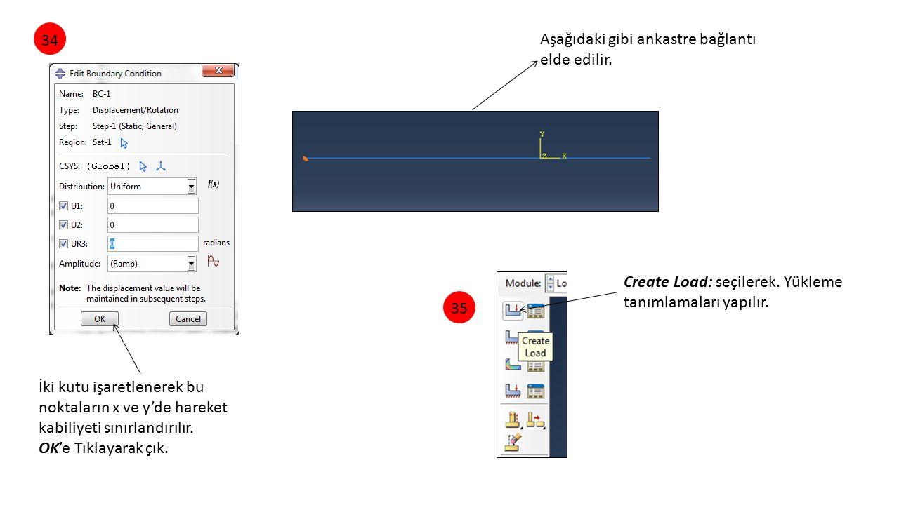 34 Aşağıdaki gibi ankastre bağlantı elde edilir. Create Load: seçilerek. Yükleme tanımlamaları yapılır.