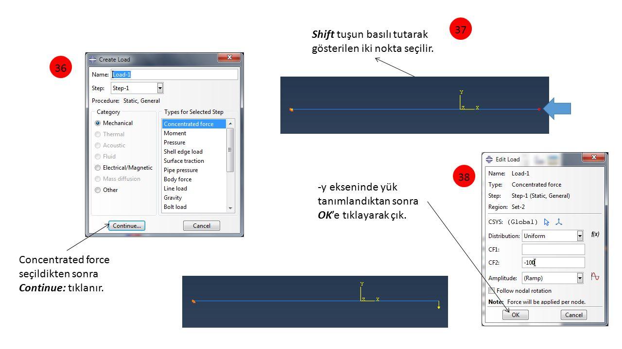 37 Shift tuşun basılı tutarak gösterilen iki nokta seçilir. 36. 38. -y ekseninde yük tanımlandıktan sonra.