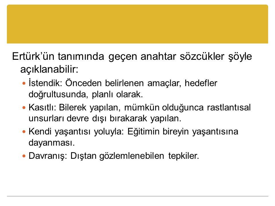 Ertürk'ün tanımında geçen anahtar sözcükler şöyle açıklanabilir: