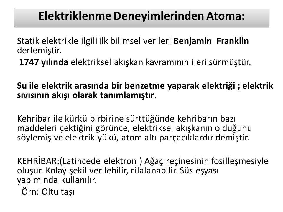 Elektriklenme Deneyimlerinden Atoma: