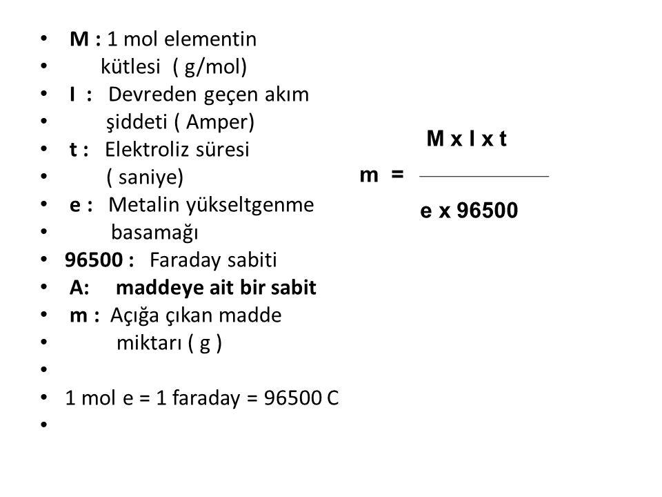 e : Metalin yükseltgenme basamağı 96500 : Faraday sabiti