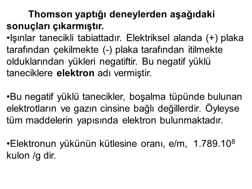 Thomson yaptığı deneylerden aşağıdaki sonuçları çıkarmıştır.