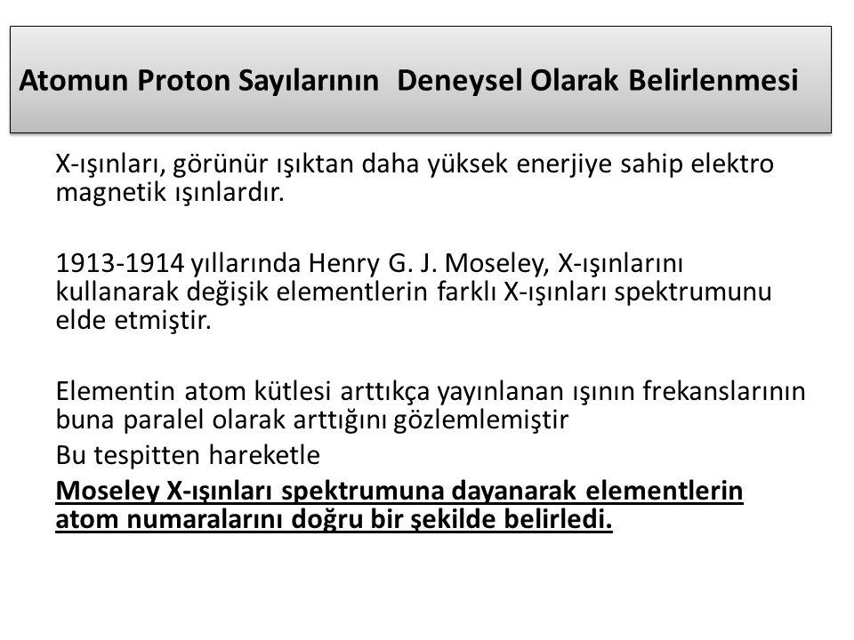 Atomun Proton Sayılarının Deneysel Olarak Belirlenmesi