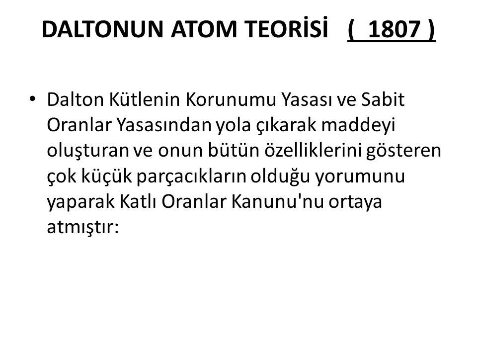 DALTONUN ATOM TEORİSİ ( 1807 )