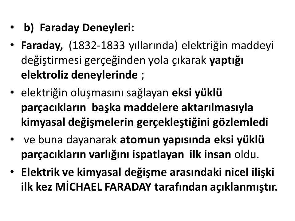 b) Faraday Deneyleri: Faraday, (1832-1833 yıllarında) elektriğin maddeyi değiştirmesi gerçeğinden yola çıkarak yaptığı elektroliz deneylerinde ;