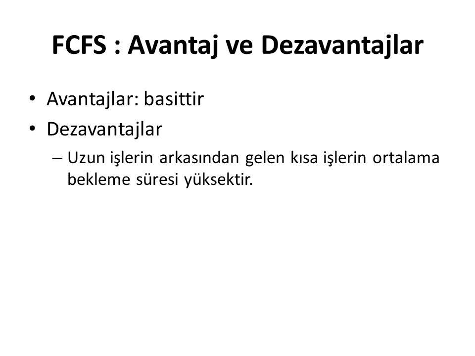 FCFS : Avantaj ve Dezavantajlar