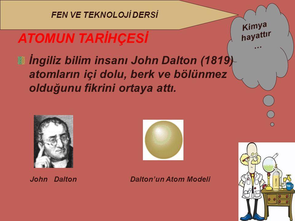 ATOMUN TARİHÇESİ İngiliz bilim insanı John Dalton (1819) atomların içi dolu, berk ve bölünmez olduğunu fikrini ortaya attı.