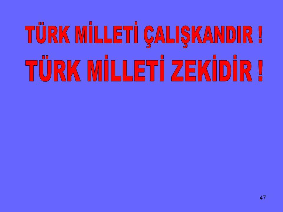 TÜRK MİLLETİ ÇALIŞKANDIR !