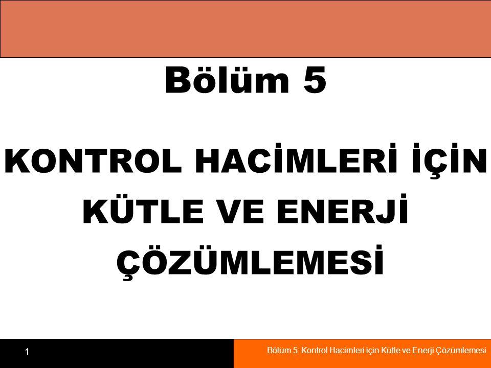 Bölüm 5 KONTROL HACİMLERİ İÇİN KÜTLE VE ENERJİ ÇÖZÜMLEMESİ