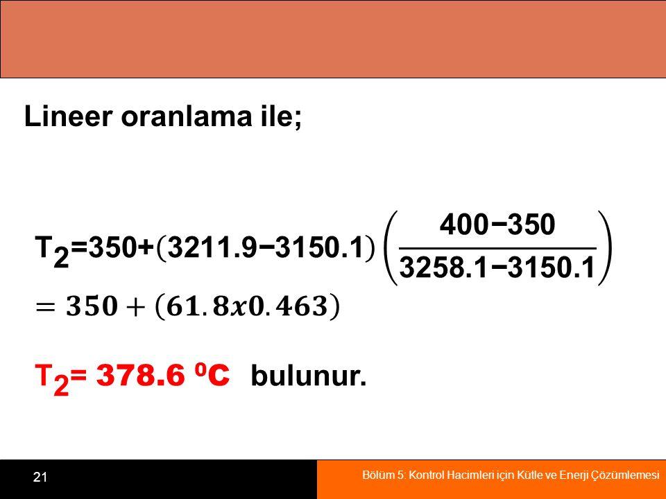 Lineer oranlama ile; T 2 =350+ 3211.9−3150.1 400−350 3258.1−3150.1.
