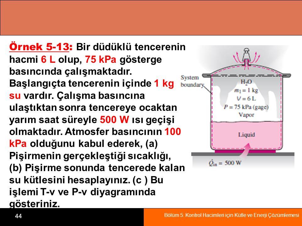 Örnek 5-13: Bir düdüklü tencerenin hacmi 6 L olup, 75 kPa gösterge basıncında çalışmaktadır.