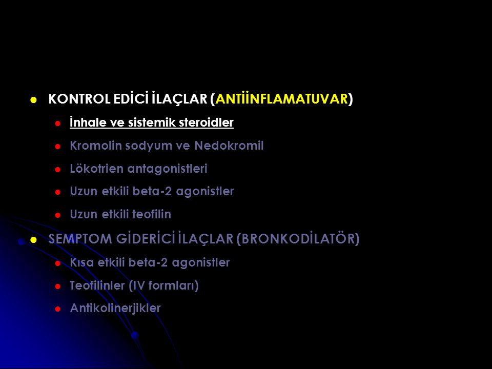 KONTROL EDİCİ İLAÇLAR (ANTİİNFLAMATUVAR)