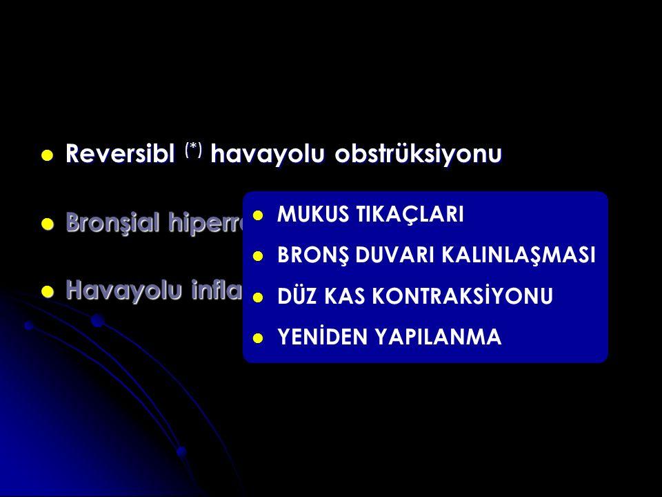 Reversibl (*) havayolu obstrüksiyonu Bronşial hiperreaktivite