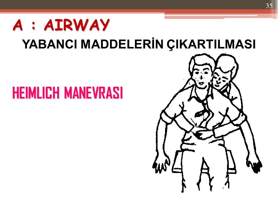 A : AIRWAY YABANCI MADDELERİN ÇIKARTILMASI HEIMLICH MANEVRASI