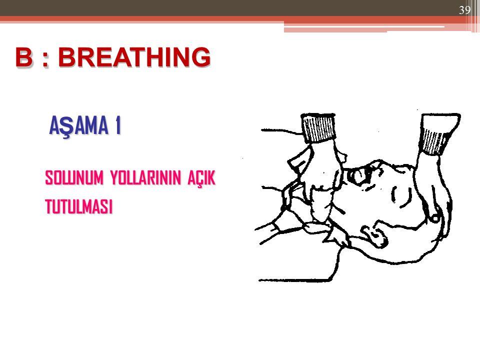 B : BREATHING AŞAMA 1 SOLUNUM YOLLARININ AÇIK TUTULMASI