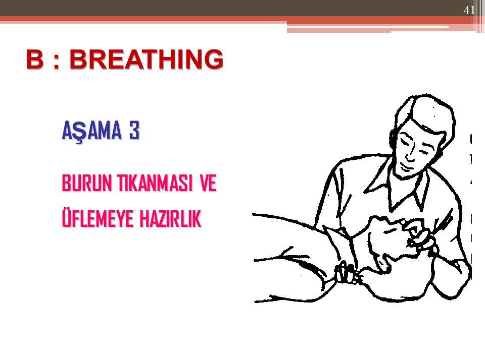 B : BREATHING AŞAMA 3 BURUN TIKANMASI VE ÜFLEMEYE HAZIRLIK