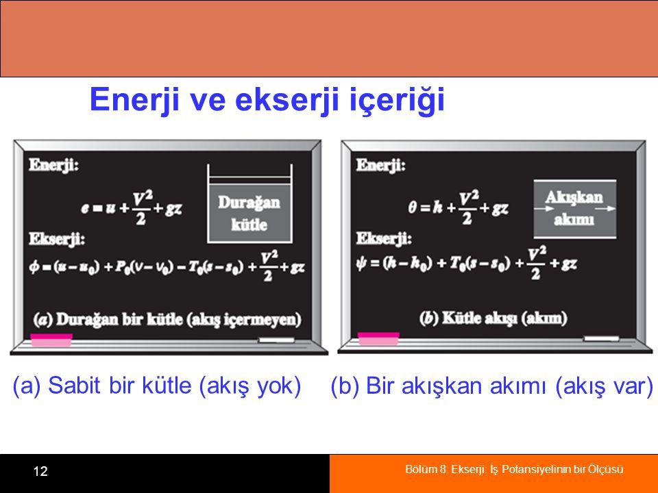 Enerji ve ekserji içeriği
