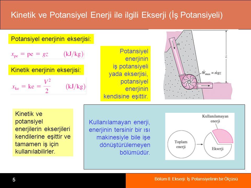 Kinetik ve Potansiyel Enerji ile ilgili Ekserji (İş Potansiyeli)