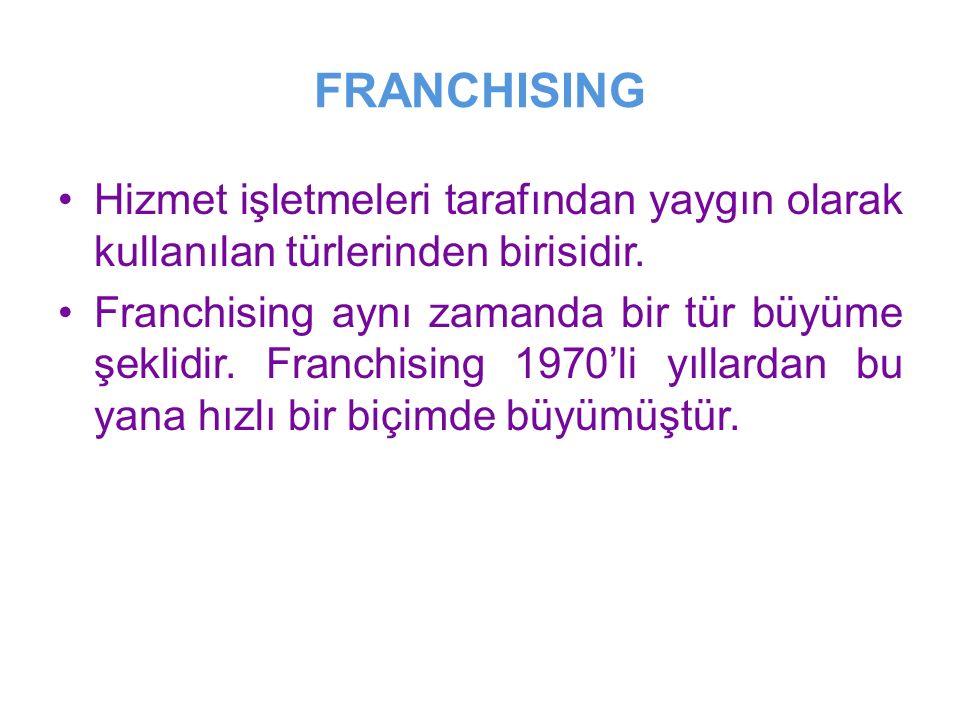 FRANCHISING Hizmet işletmeleri tarafından yaygın olarak kullanılan türlerinden birisidir.