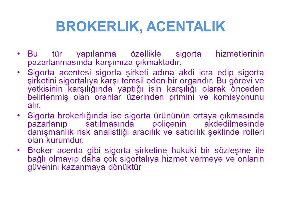 BROKERLIK, ACENTALIK Bu tür yapılanma özellikle sigorta hizmetlerinin pazarlanmasında karşımıza çıkmaktadır.